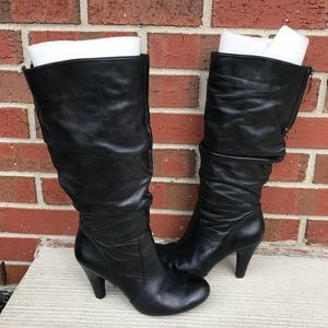 Guess WGBerry Black Leather Boots 6.5 M